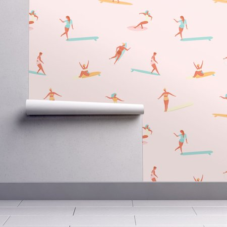 Peel-and-Stick Removable Wallpaper Surfing Surfer Girl Surfers Surfer