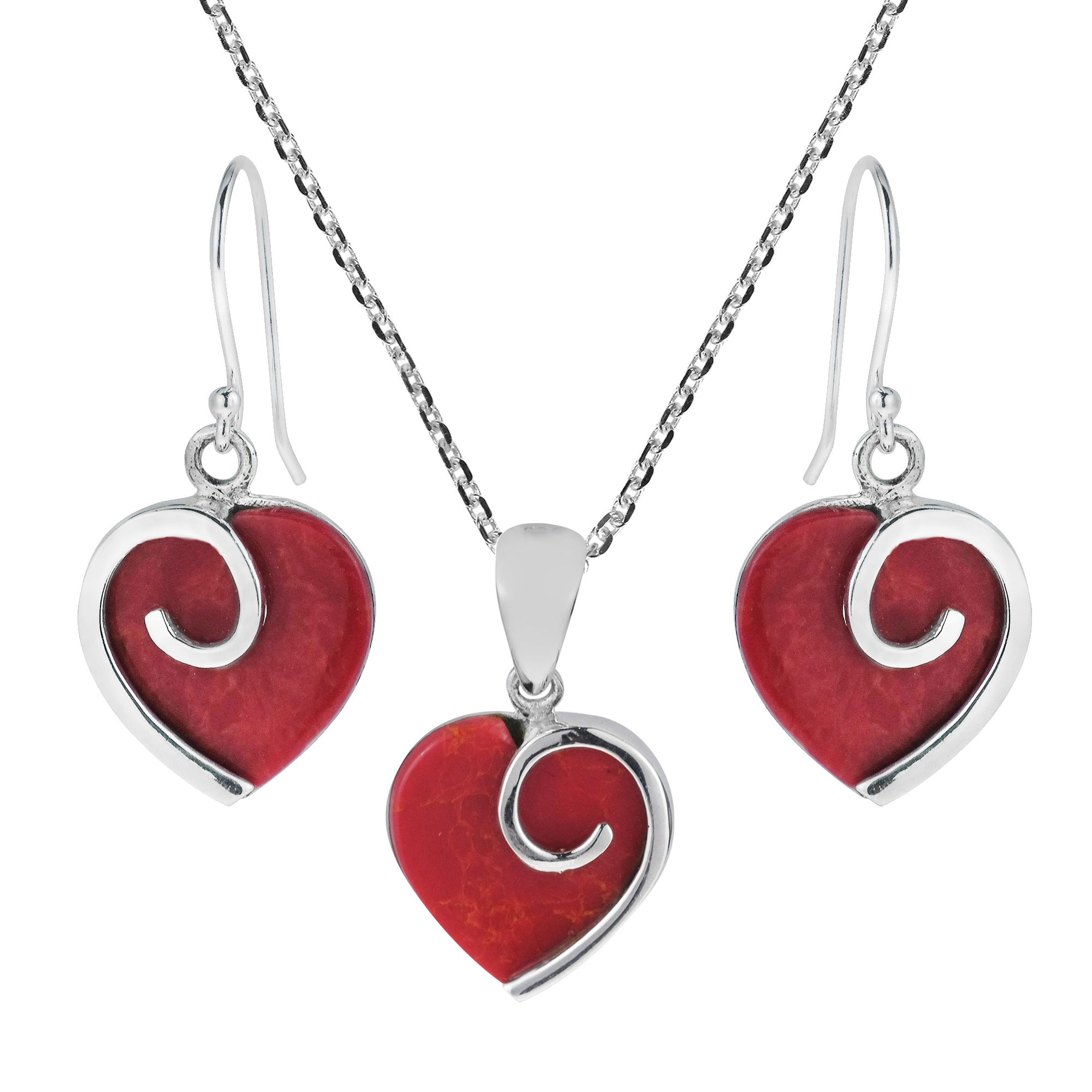Heart in Love Synthetic Coral .925 Sterling Silver Red Jewelry Set by
