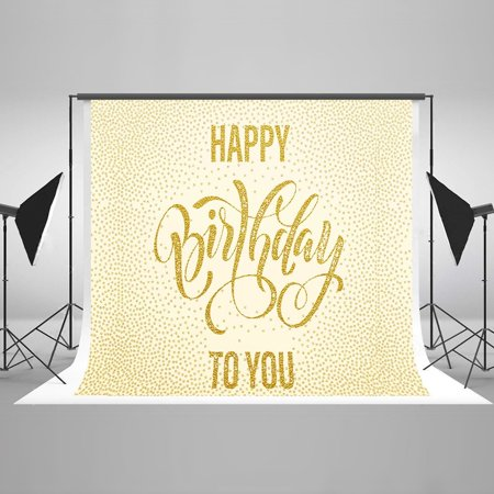 GreenDecor Polyster 7x5ft Happy Birthday Backdrops for Photographers Golden Spot Background Photo Booth Studio Backdrop Photography Props