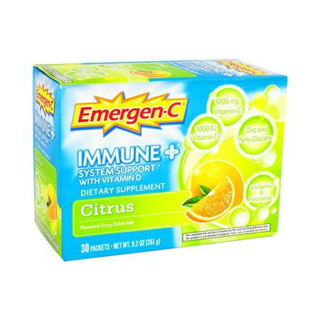 Alacer Emergen C immunitaire Plus Vitamine D Drink Mix Packets saveur d'agrumes - 30 Ea 3 Pack