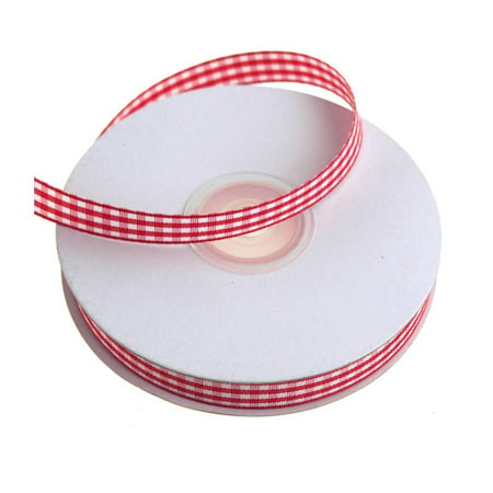 3/8' Gingham Ribbon (Gingham Christmas Ribbon, 3/8-Inch, 25 Yards, Red)