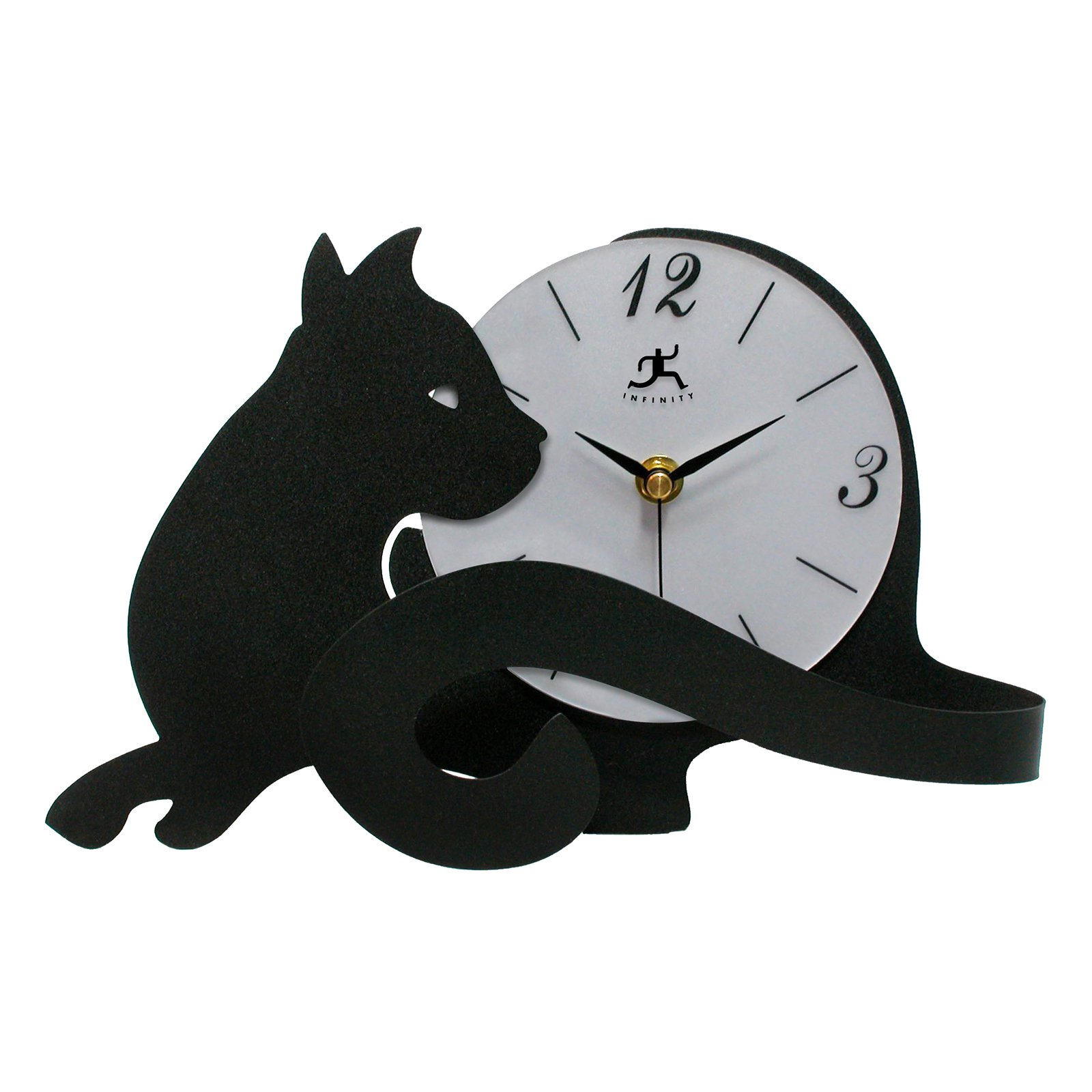 """Infinity Instruments Cat Tail 11.5"""" Table Top Clock by Infinity Instruments Ltd"""