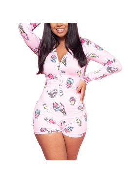 Women's Sexy Deep V Neck Shorts Jumpsuit Long Sleeve One Piece Bodysuit Pajama Bodycon Rompers Overall