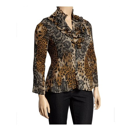 Cathaya Women's Brown Leopard Floral Print Pleated Plus Size Shirt