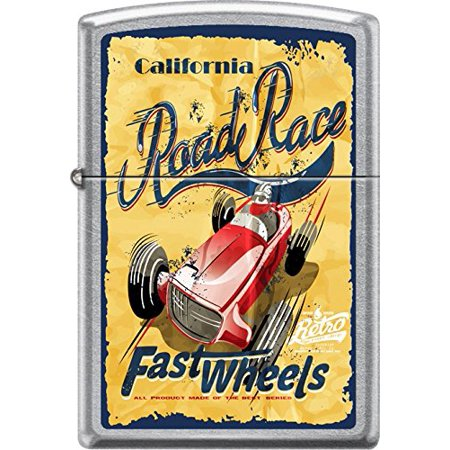 - Zippo Street Chrome California Road RaceFast Windproof Pocket Lighter