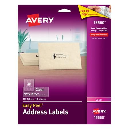 Avery Matte Clear Easy Peel Address Labels, Laser, 1 x 2 5/8, (Designs Die Cut Address Labels)