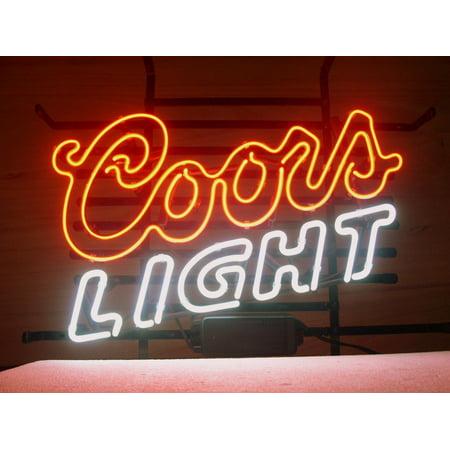 Coors Light Neon Sign - Desung Brand New Coors Light Neon Sign Lamp Glass Beer Bar Pub Man Cave Sports Store Shop Wall Decor Neon Light 24