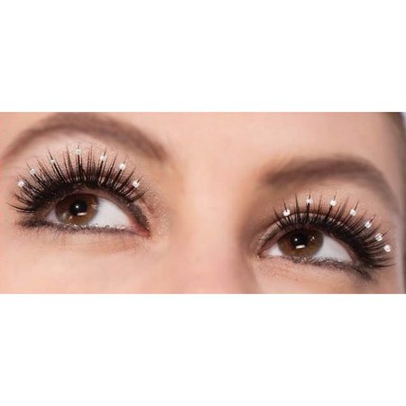 Women's  Long Black Costume Eyelashes With Pearl Studs