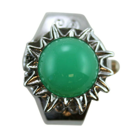 Ring Watch - Aqua Green Gem on Silver Sun Tone Watch