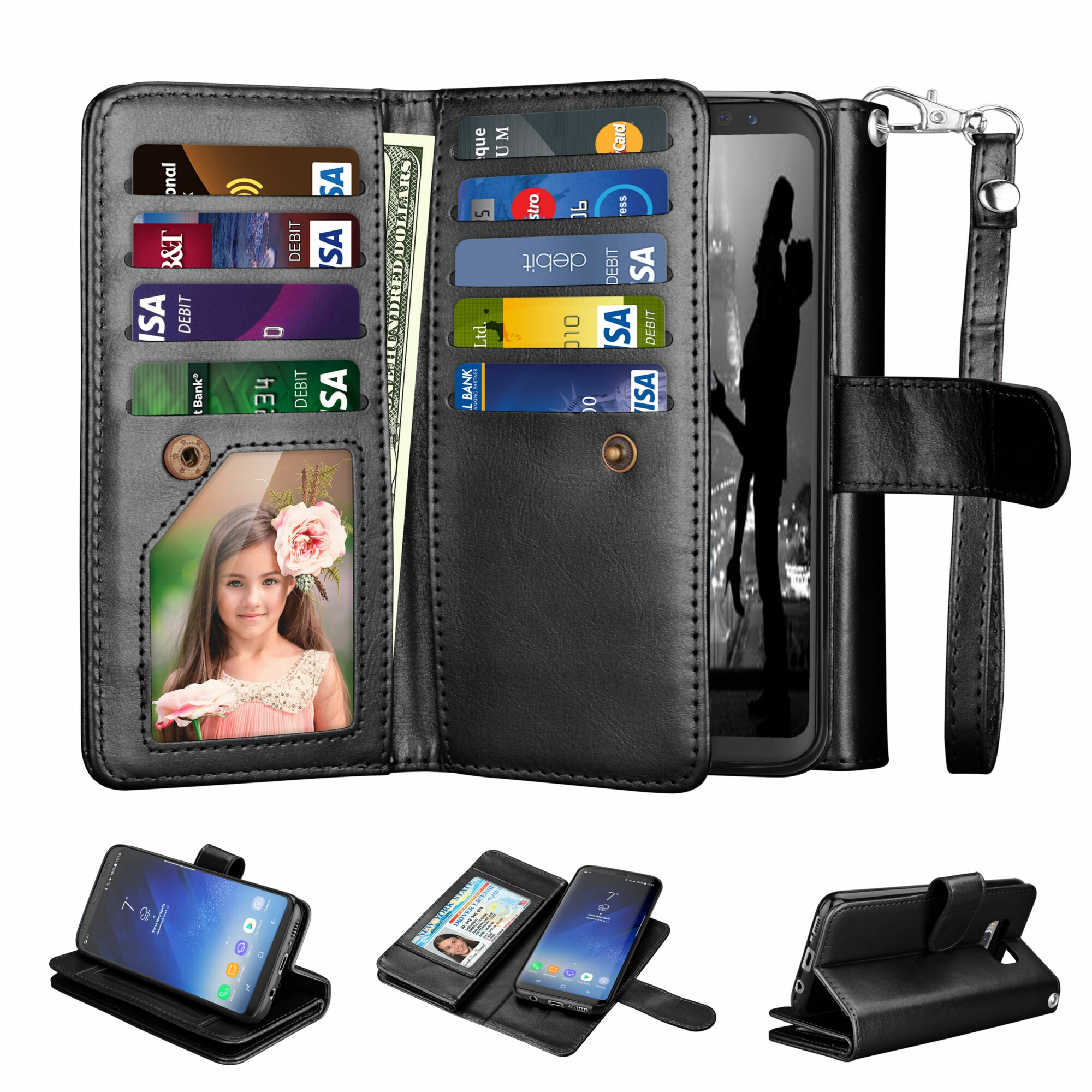 Samsung S8 Case, Galaxy S8 Wallet Case, Galaxy S8 Pu Leather Case, Njjex Pu Leather Magnet Stand Wallet Credit Card Holder Flip Case Cover Built-in 9 Card Slots Case For Samsung Galaxy S8 -Black