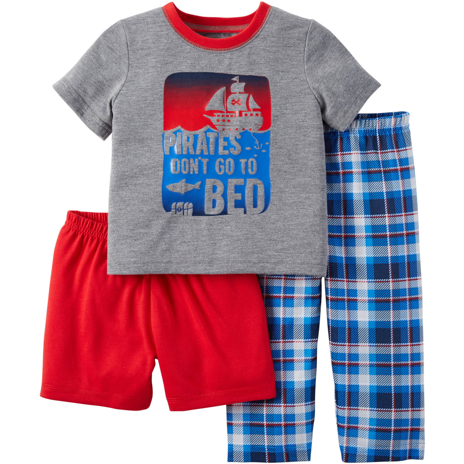 Child of Mine made by Carter's Baby Toddler Boy Shirt, Short and Pant Pajama Set 3 Pieces