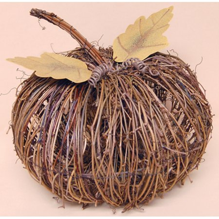 Natural Twig Pumpkin Decoration with Rusted Metal Leaf - 10