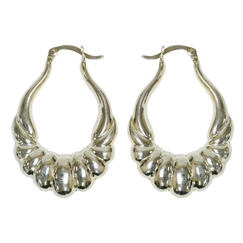 Forever New Silver Tone Ribbed Hoop Earrings