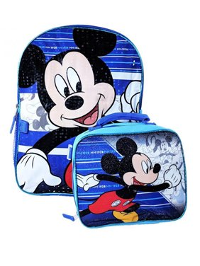 """Mickey Mouse 16"""" Backpack W/Detachable Lunch Bag"""