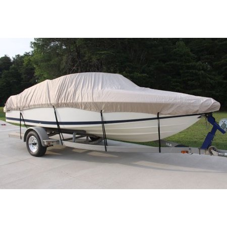 NEW VORTEX 5 YEAR CANVAS HEAVY DUTY TAN/BEIGE VHULL FISH SKI RUNABOUT COVER FOR 26 to 27 to 28' FT BOAT, IDEAL FOR 108