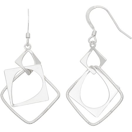 Sterling Silver Geometric Square Eurowire Drop Earrings