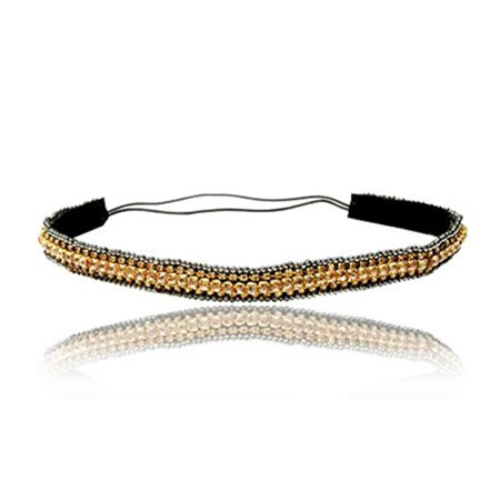 Gold Rhinestone and Beaded Thin Headband. Bohemian Style Headband, Gatsby Style, Elastic Band to Fit Any Size Head. Comes with Look Guide to Show You Many Styles. - Gatsby Themed Prom Hair