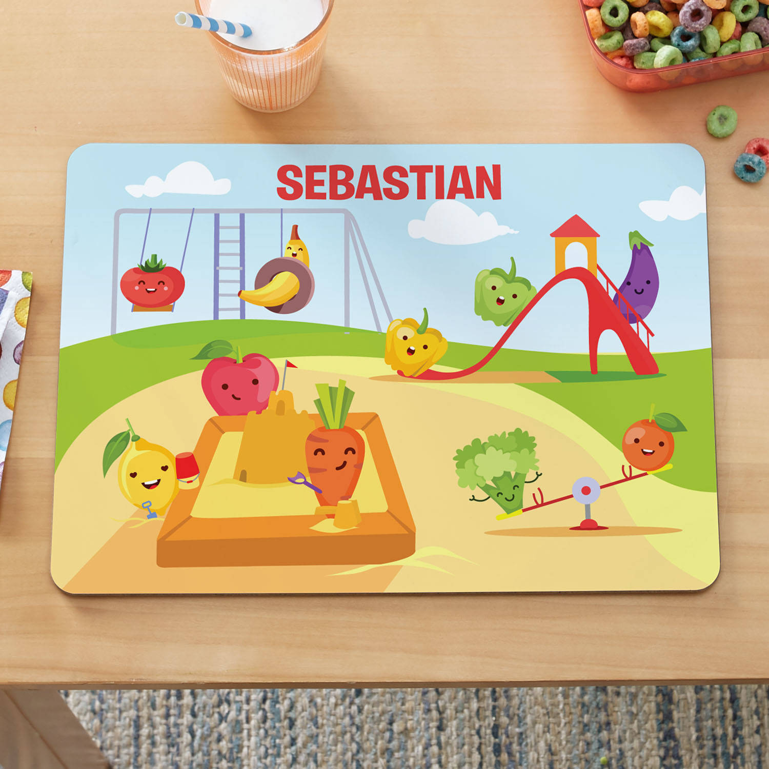Personalized Count Your Fruit and Veggies Kids Placemat