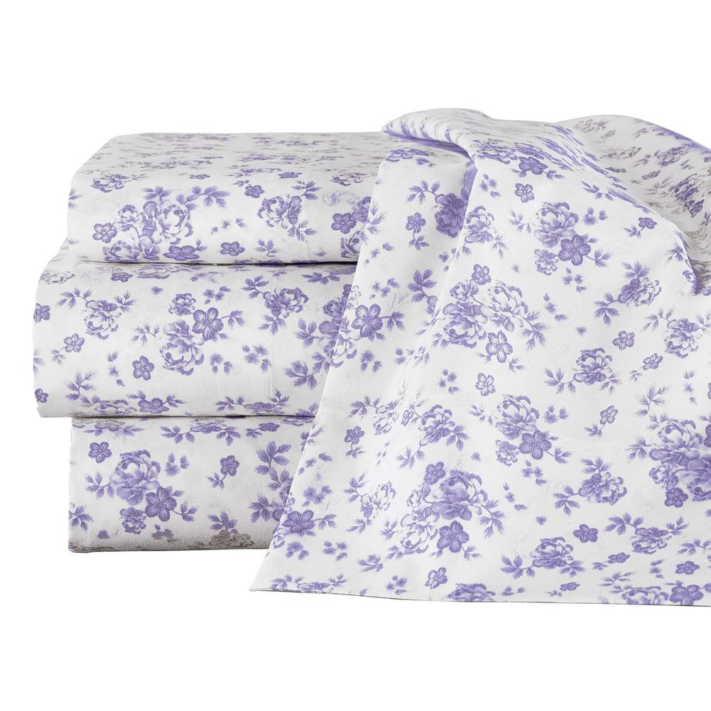 Lavender All Over Floral Design Sheet Set Includes Flat