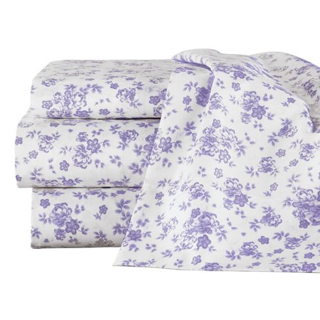 Lavender All-Over Floral Design Sheet Set - Includes Flat Sheet, Fitted Sheet, 2 Floral Pillow Cases, and 2 White Pillow Cases, Twin, - Floral Fitted Sheet