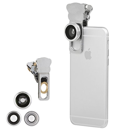 Iphone Camera Lens Kit for iPhone 6S/ 6 plus & All Smartphones - 180° Fisheye Lens, Macro Lens, Wide Angle Lens - Includes a Universal Clip(Silver)