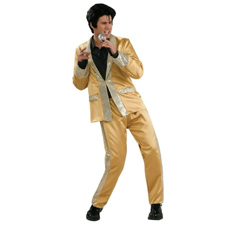 Men's Deluxe Elvis Gold Satin - Female Elvis Costumes