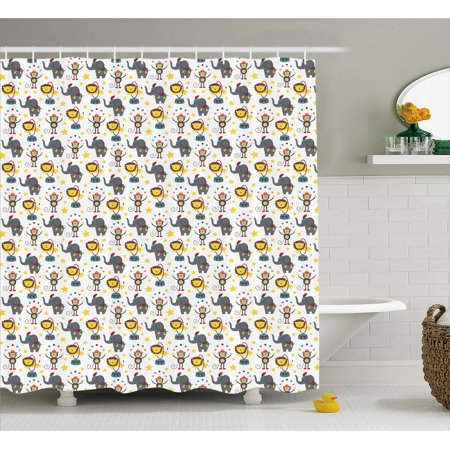 Baby Shower Curtain, Happy Circus Animals Performing Jumping Posing Juggling Stars Backdrop Cartoon Style, Fabric Bathroom Set with Hooks, 69W X 75L Inches Long, Multicolor, by Ambesonne](Shower Juggling)
