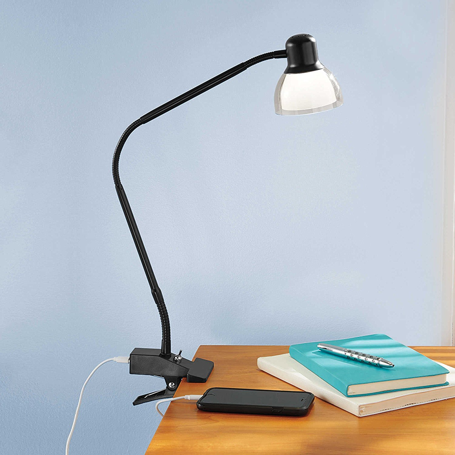Functional LED Clip Lamp in Matte Black Featuring a Flexible Gooseneck Design Ideal for Lighting a Workspace or Desk... by