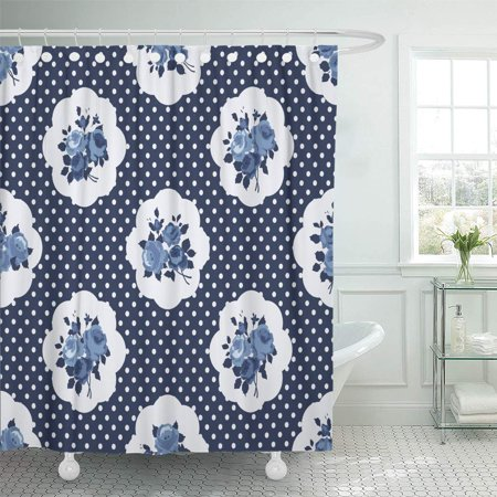 KSADK Blue Flower Shabby Chic Rose Pattern and onto and Scrap Booking Cottage Style Pink Shower Curtain Bath Curtain 66x72 inch ()