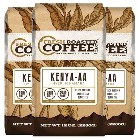Kenya AA Nyeri Ichamara, Whole bean coffee, Fresh Roasted Coffee LLC. (Pack of 3)