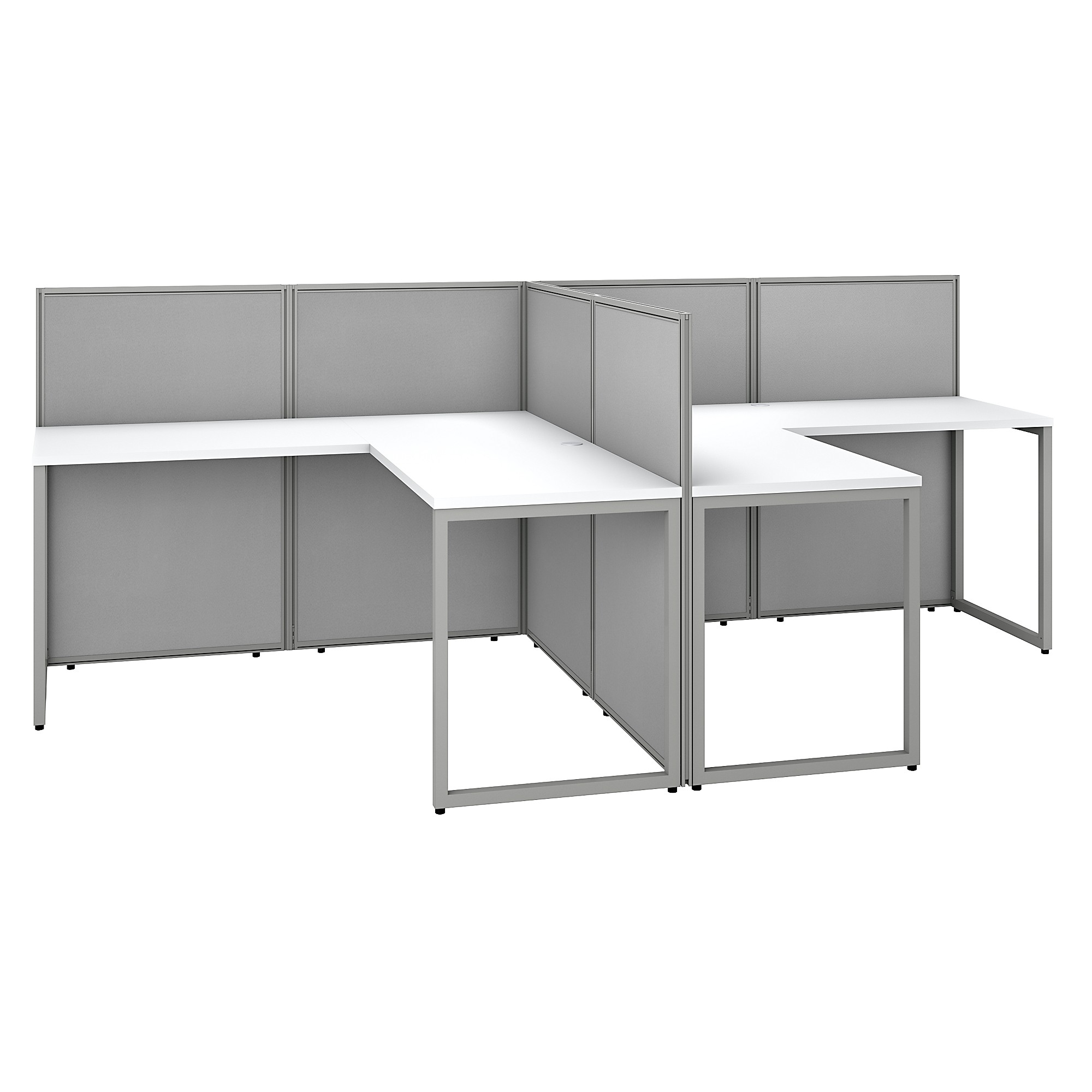 Bush Business Furniture Easy Office 60w 2 Person L Shaped Cubicle Desk Workstation With 45h Panels Pure White Silver Gray Fabric Walmart Com Walmart Com