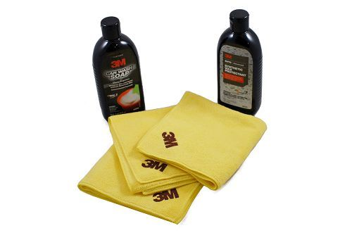 3M (39000  39030) Car Wash Soap, High Performance Synthetic Wax, and Cloths by 3M