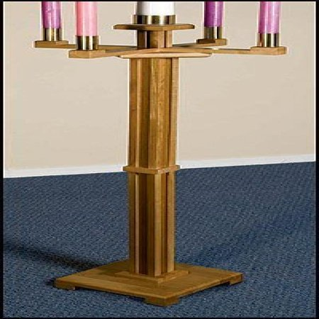 Maple Hardwood Church Sized Standing Advent Candlestick Holder in Pecan Stain