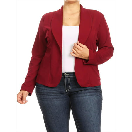 MOA COLLECTION Women's Plus Size Casual Solid Basic Long Sleeve Blazer Cardigan Jacket/Made in USA