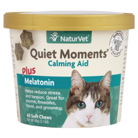 NaturVet Quiet Moments Calming Aid Plus Melatonin for Cats, 60 Soft Chews