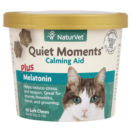 NaturVet Quiet Moments Calming Aid Plus Melatonin for Cats, 60 Soft