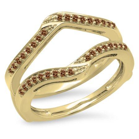 18k Yellow Gold Enhancer (0.30 Carat (ctw) 18K Yellow Gold Round Champagne Diamond Ladies Anniversary Wedding Band Enhancer Guard Double Ring)