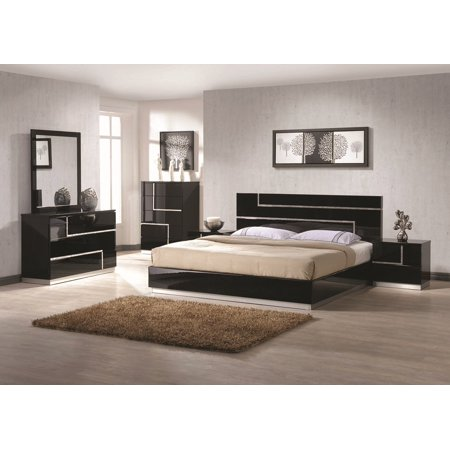 Barcelona Bedroom 4Pcs Set Black Lacquer Flat Silver Base Lining W Rhinestone Queen Size Bed Dresser Mirror Nightstand