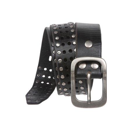 "1 1/2"" (38 mm) Snap on Vintage Cowhide Metal Circle Studded Leather Belt"