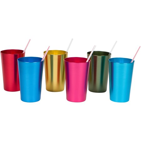 18 oz. Retro Aluminum Tumblers - 6 cups - By Trademark Innovations (Assorted Colors) ()