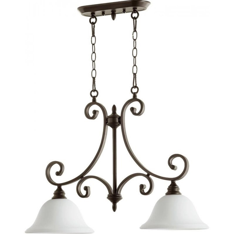 Quorum Bryant 2 Light Island Light in Oiled Bronze and Satin Opal