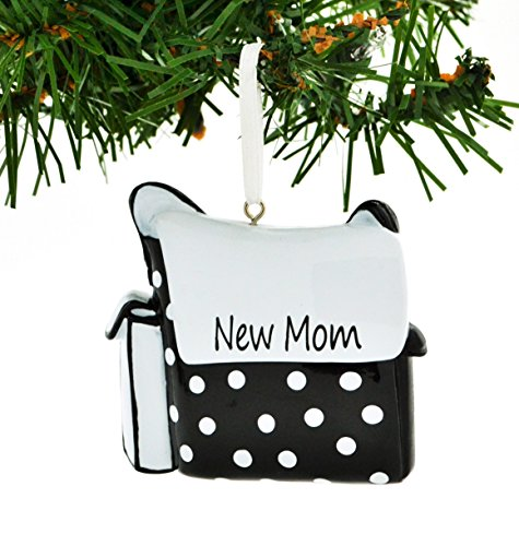 Diaper Bag Black & White Personalized Christmas Ornament DO-IT-YOURSELF
