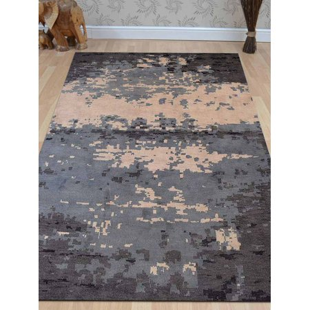 Rugsotic Carpets Hand Knotted Woolen 6' x 9' Contemporary Area Rug Multicolor N00805-Color:Multicolor,Material:Woolen,Shape:Rectangle,Size:8' x