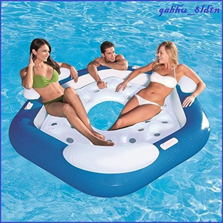 - Inflatable Floating Island 3 Person (Buy 1 Get 1 FREE) Raft River Lake Pool Party Tube w/ Backrest