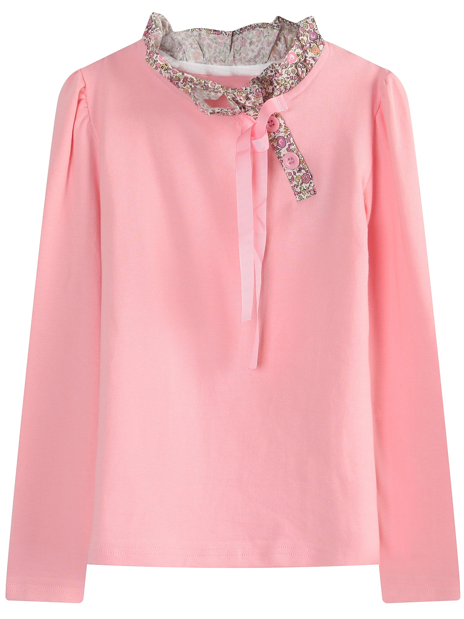 Richie House Girls' Long Sleeve Pullover with Floral Collar RH1560