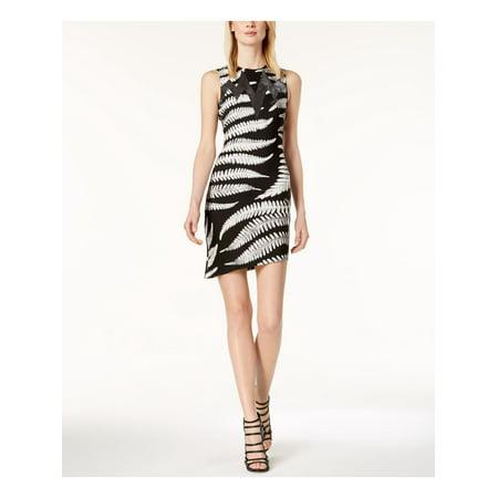 JUST CAVALLI Womens Black Mesh Inset Asymmetrical Sleeveless Mini Sheath Cocktail Dress  Size: 8