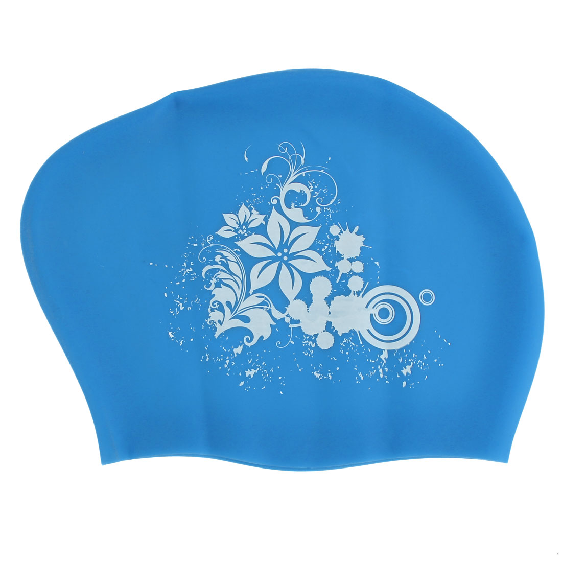 Women Silicone Flower Print Dome Shaped Water Resistant Swimming Cap Light Blue