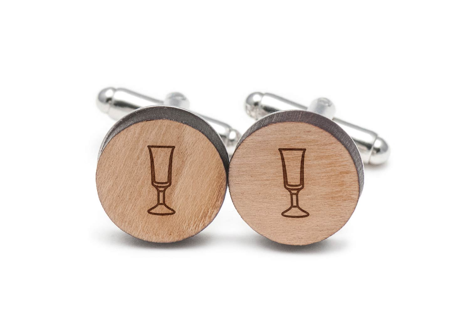 Cordial Glass Cufflinks, Wood Cufflinks Hand Made in the USA by BigSpool Distributors