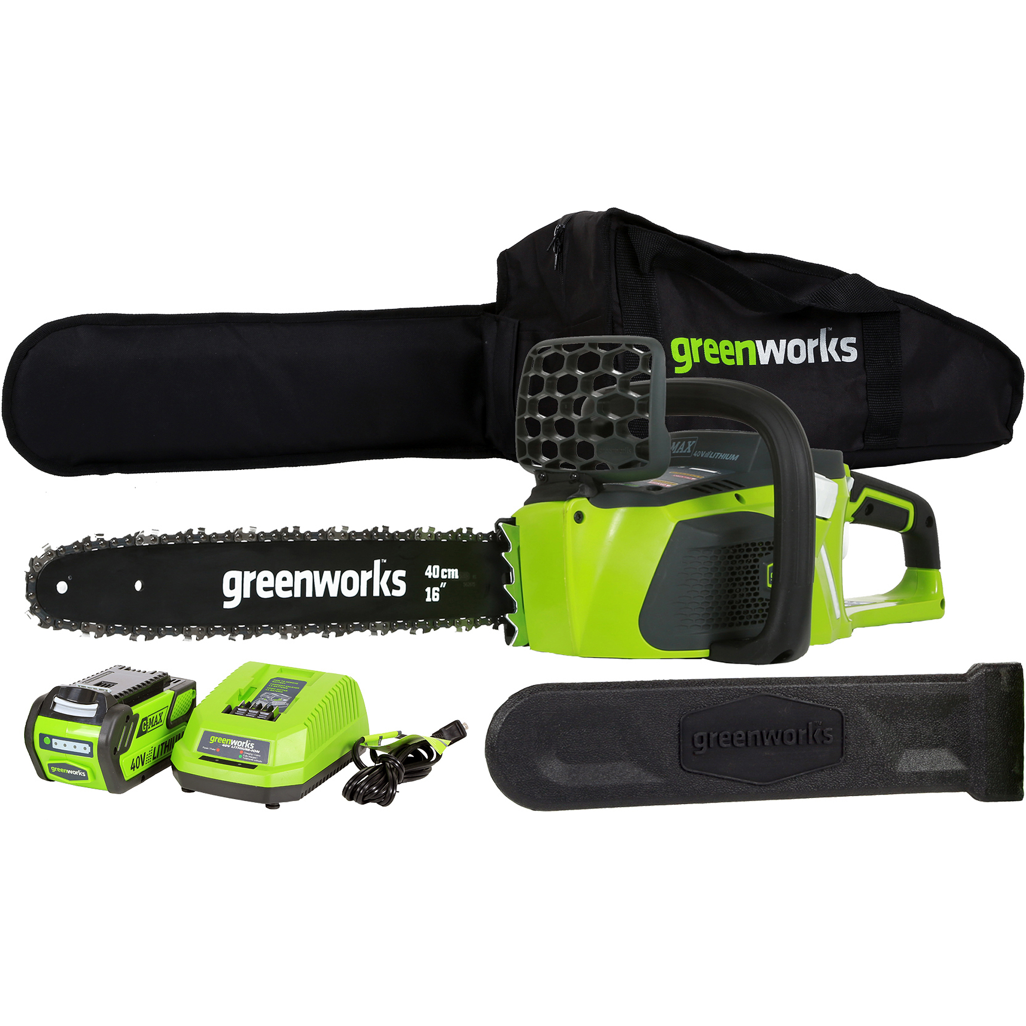 "GreenWorks 20312 40V 16"" Brushless Chainsaw, Includes 4Ah Battery and Charger"