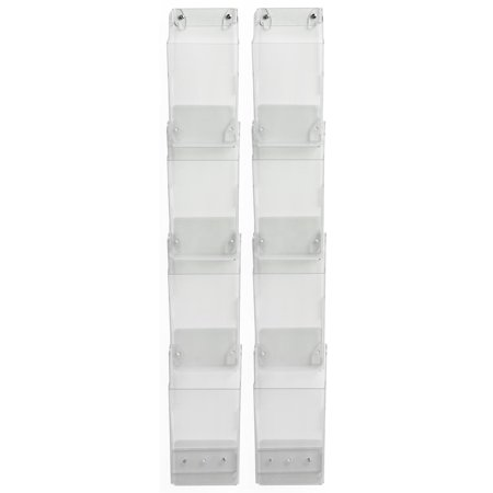 Wall Mount Brochure Holder, 8 Full-Size Pockets, Holds 4